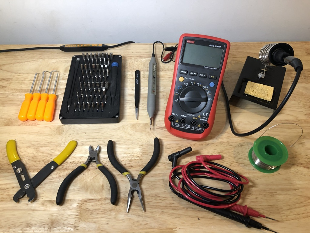 Workbench with electronics tools on it